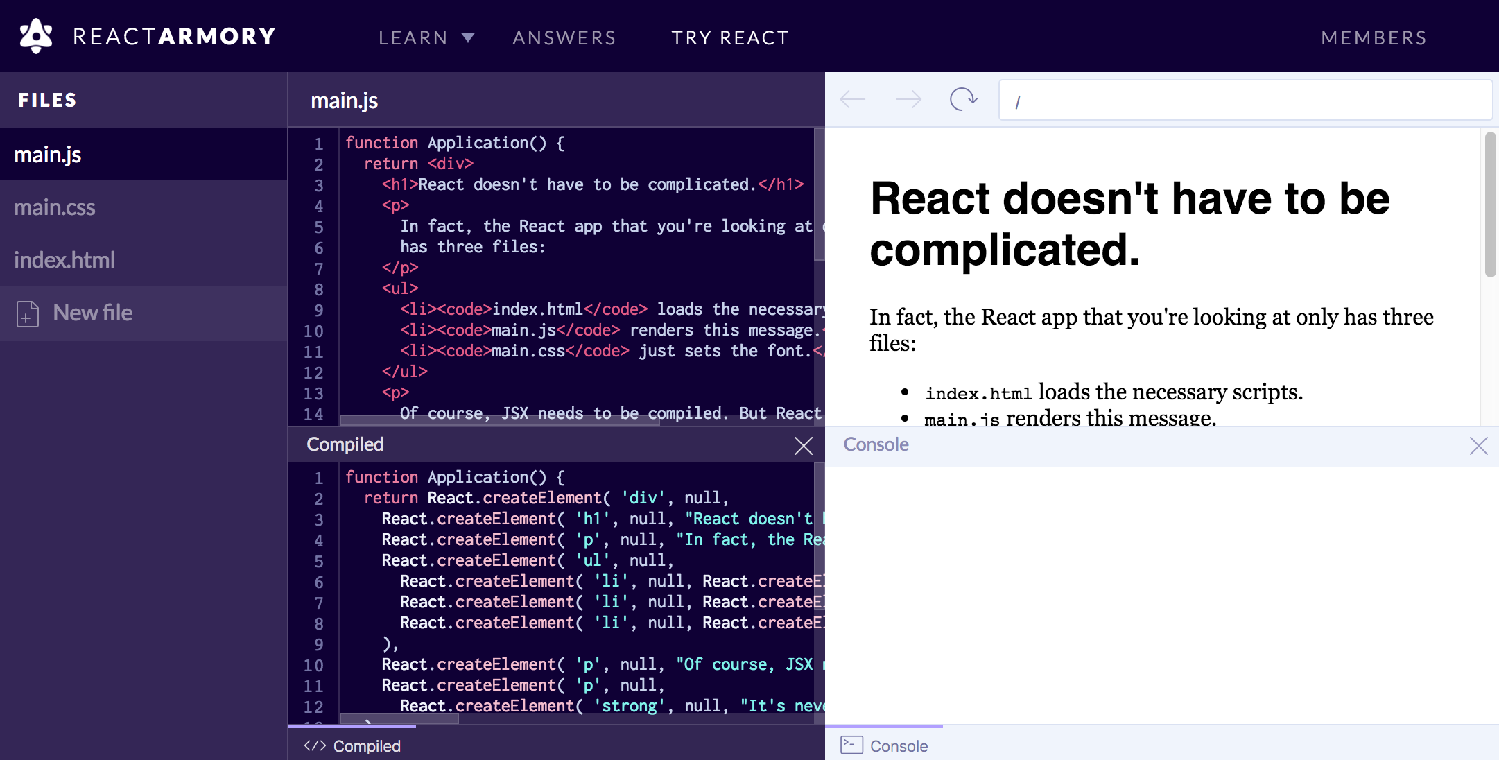 Try React (from your browser)
